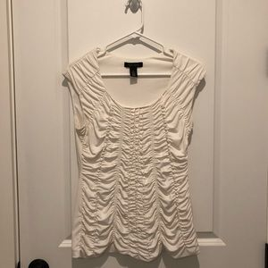 Off White Ruched Top White House Black Market WHBM
